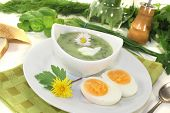 Herbs Soup With Eggs, A Dollop Of Cream