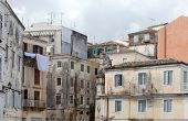 Dilapidated buildings in the backstreets of Corfu Town, Greece, where poverty leaves once grand houses to decay