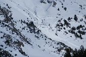 stock photo of avalanche  - Small avalanche bottom view torla Resort Spain - JPG