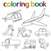 Set Of Various Toys For Coloring Book