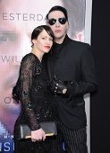 LOS ANGELES - APR 10:  Marilyn Manson & Lindsay Usich arrives to the 'Transcendence' Los Angeles Pre