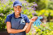 portrait of pretty african american female gardener