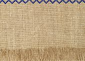 Natural Linen Texture Pattern With Fringe Taken Closeup.abstract Background.