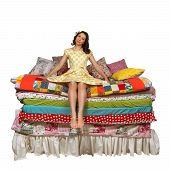 pic of mattress  - she many mattresses in pea dress isolated on white background - JPG