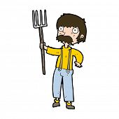 cartoon farmer with pitchfork