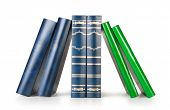 books in a row, isolated on white background,empty labels with free copy space