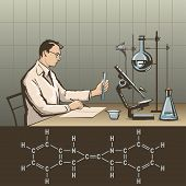 foto of hydrogen  - Doctor writing report about scientific research in laboratory vector illustration - JPG