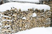 Stack of firewood under the snow
