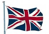 british  flag  Union Jack flying  against white