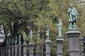 picture of thinker  - Jardin du Petit Sablon in Bruxelles statues commemorating important thinkers in Belgian history - JPG