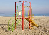 Colorful Children Playground On Beach