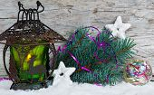Burning Lantern With Fir Branch