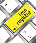 Free Register Computer Key Showing Internet Concept