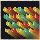 Long extruded vector alphabet with retro colors