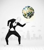 Funny man in full body suit holding planet earth, Elements of this image furnished by NASA