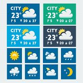 Vector Weather Widget, Flat Style