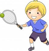 Illustration of a Little Boy Hitting a Tennis Ball with a Racket