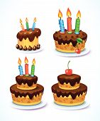 Happy Birthday cake set. Cakes decorated with icing and candles