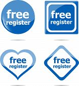 Stickers Label Set Business Tag With Free Register Word