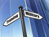 Education concept: sign Military Training on Building background