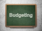 Finance concept: Budgeting on chalkboard background
