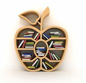 foto of academia  - bookshelf in the form of an apple on a white background - JPG