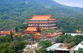 stock photo of lantau island  - Po Lin Nunnery on the Lantau Island of Hong Kong - JPG