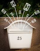 Hand drawn letters and envelopes comming out of a mailbox