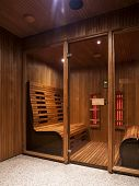 pic of sauna  - interior of luxurious Infrared wood finnish sauna cabin - JPG