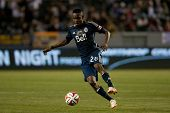 CARSON, CA - APRIL 12: Vancouver Whitecaps M Gershon Koffie #28 during the MLS game between the Los