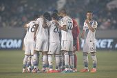 CARSON, CA - APRIL 12: Los Angeles Galaxy starting 11 during the MLS game between the Los Angeles Ga