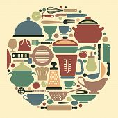 pic of food preparation tools equipment  - Silhouettes of kitchen ware and utensils on a color background - JPG