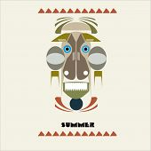 picture of tiki  - tiki tourism art illustration vector mask african - JPG