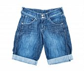 Blue denim shorts on a white background