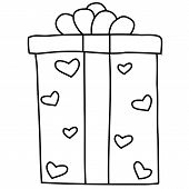 outlined illustration of gift box