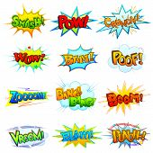 foto of punch  - vector illustration of collection of comic book explosion - JPG