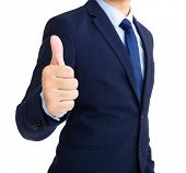 Businessman show thumb up