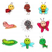 Cute Cartoon Insects And Bugs