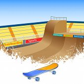 picture of skate board  - vector illustration of skate boarding ground with board - JPG