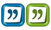 stock photo of quotation mark  - set of two icons with paper and quotation mark - JPG