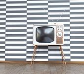 vintage television over white& black  background. 3d concept