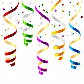 stock photo of christmas party  - The vector illustration of curled party streamers - JPG