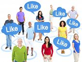 Cheerful Multi-Ethnic Group Of People Standing Individually Above Them Speech Bubbles With The Word