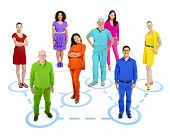 Group of Multi Ethnic Colorful Connected World People