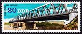 Postage Stamp Gdr 1976 Elbe River Bridge, Rosslau