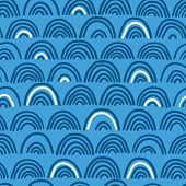 Doodle sea waves seamless pattern.
