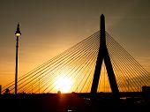 Zakim Bunker Hill Bridge Sunset Silhouette