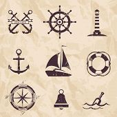 image of navy anchor  - nautical design elements icons - JPG