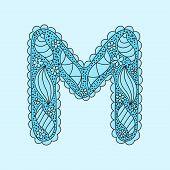 Cute letter M. Floral monogram M