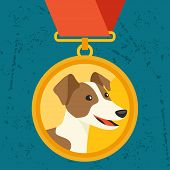 picture of border terrier  - Background with gold medal and dog champion - JPG